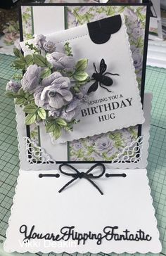 Samantha Brown's media statistics and analytics Birthday Hug, Birthday Cards, Card Making Inspiration, Making Ideas, Tattered Lace Cards, Shabby Chic Cards, Shaped Cards, Easel Cards, Lace Flowers