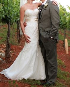 Love everything about this! Grey suit...lace dress...vineyard!!
