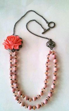 Shabby Chic Pink Rose Necklace by Hecmi on Etsy, $20.00
