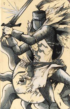 Solaire of Astora, Dark Souls   artwork by D.Hirajeta, Iron Clown Studios