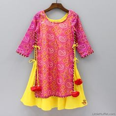 Pre Order: Bandhej Dress - Pink And Yellow