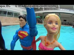 Barbie Sereia Mermaid Luzes Superman Super Homem Piscina Swimming Pool B...