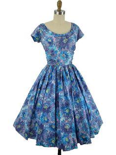1950s Jerry Gilden Floral Print Full Midi Dress-M