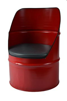 Industrial Furniture Barrel Chair w/ vinyl padded seat. Red in