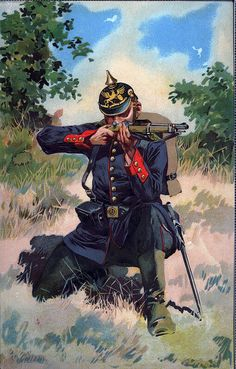 A Prussian soldier, Franco-Prussian War Military Art, Military History, German Uniforms, Military Uniforms, Military Drawings, Crimean War, Napoleonic Wars, World War One, World History