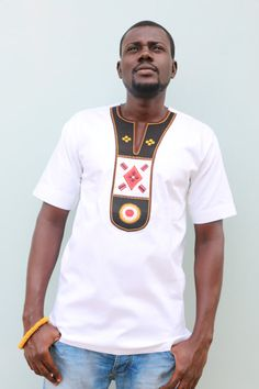 African Men Shirt Embroidery Men shirt White Men by AfrowearHouse