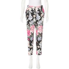Pre-owned C?line Floral Print Mid-Rise Pants ($225) ❤ liked on Polyvore featuring pants, pattern prints, white pants, colorful pants, white trousers, multi colored pants and floral print trousers