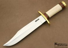 Randall Custom Knife Model 12 - 9 Fossilized Walrus Ivory Stacked Leather & Brass Bowie - Randall Knives custom knife - image 1
