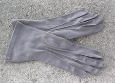 1950s Vintage Gray Nylon Gloves by Van Raalte by MyVintageHatShop