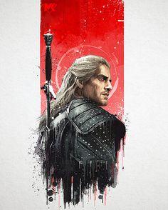 The Witcher - Splash Art, Mayank Kumarr - Fantasy-Filme The Witcher Geralt, Witcher Art, The Witcher Wallpapers, Wallpapers Games, Wallpaper Wallpapers, Jhin League Of Legends, Medusa Drawing, Drawing Art, Splash Art