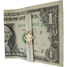 Sterling Silver Money Clip with 10K Gold Jewish Star by Hickok offered by Not Just MUSI Bows on Ruby Lane