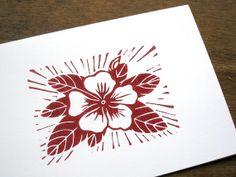 Single hand printed linocut card vinca in red ink by jessnielsen, $3.50