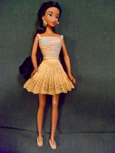 This skirt is not hard and it looks great! It doesn't take long to make. There are a lot of options of different ways to make this. You could use a different sized hook and yarn to change that size for other dolls. You will need velcro or a snap.