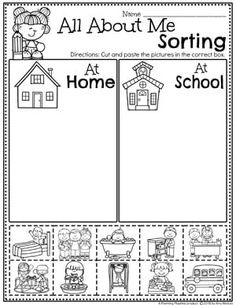 All About Me Activities - Planning Playtime Preschool Worksheets Sorting - All About Me theme At School or At Home Back To School Worksheets, Kindergarten Math Worksheets, Preschool Learning Activities, Sorting Activities, Preschool Classroom, Kids Learning, Cut And Paste Worksheets, All About Me Activities, All About Me Preschool Theme