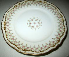 """Theodore Haviland Limoges Schleiger #349 Double Gold Pink Flower 5 Plates 7.5"""""""