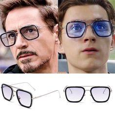 Avengers Iron Square Sunglasses Retro Gradient Spider Man Edith Glasses - Sally's Home Tony Stark Sunglasses, Retro Sunglasses, Sunglasses Women, Nasu, Iron Man, Spiderman, Avengers, Lunette Style, Sports Glasses