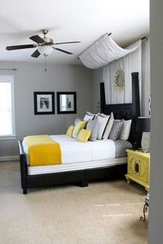 Minus The Curtains White Grey Yellow Master Bedroom Absolutely
