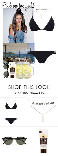 """54. Pool on the yacht"" by queenxxbee ❤ liked on Polyvore featuring Kismet, Melissa Odabash, Wet Seal, Ray-Ban and Lavanila"