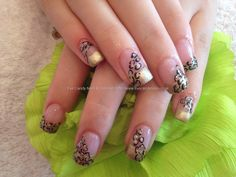 Full set of acrylic with gold tip and leopard print as nail art