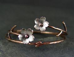 Cherry Blossom Bronze Cuff Sakura bracelet Spring by HapaGirls,