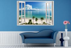 3D Window Decal WALL STICKER Home Decor Exotic Beach View Art Wallpaper Mural XL