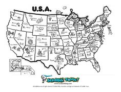 A printable map of the United States of America labeled with the ...
