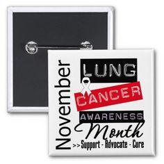 Lung Cancer Awareness Month Pinback Button #lungcancerawareness #lungcancermonth #lungcancerribbon