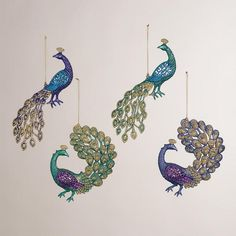 One of my favorite discoveries at WorldMarket.com: Glitter Peacock Ornaments, Set of 4