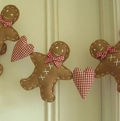 Gingerbread man & heart garland