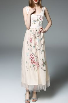 Embroidered Gauzy Maxi Dress