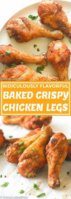 Baked Crispy Chicken Legs - Immaculate Bites - Baked Crispy Chicken Legs – Immaculate Bites Best Picture For paleo recipes For Your Taste You - Chicken Leg Recipes Oven, Bake Chicken Leg Recipe, Oven Baked Chicken Thighs, Crispy Oven Baked Chicken, Baked Chicken Drumsticks, Bake Chicken Drumsticks Oven, Chicken Wing Recipes Healthy, Baked Chicken Meals, Chicken Legs In Oven