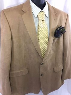 CHAPS Sport Coat Mens Size 48L Polyester Brown Tan Suede 2 Button Jacket EUC #Chaps #TwoButton