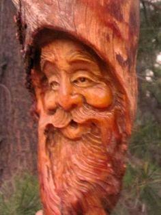 Tree Gnome Wood Carving Rustic Spirit Lodge Log Cabin Home Decor Folk Art