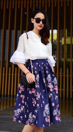 Fashiontroy  Street style mid sleeved shirt collar white see-through/sheer ruffled shirt