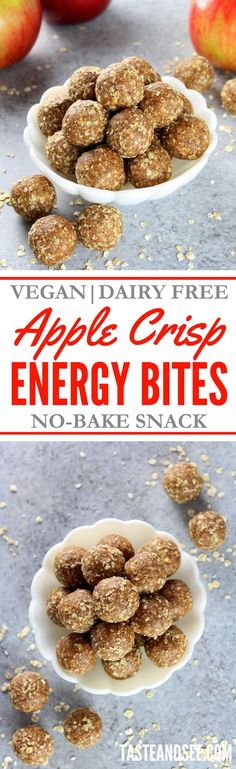 Apple Crisp Energy Bites – the perfect healthy no-bake snack that tastes like heaven.