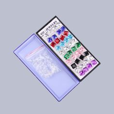 20 Pairs 925 Sterling Silver Multi Colored Square Crystal Ear Studs Earrings New