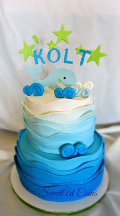 Blue Ombre Whale Baby Shower Cake