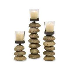 Modern 3 Pc Stone Glass Candlestick Set New Bedroom Living Room Home Decor