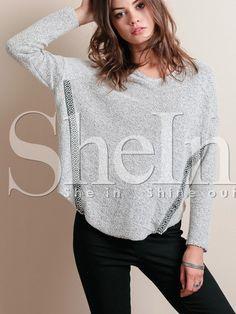 Camiseta estampado cuello redondo -gris-Spanish SheIn(Sheinside)
