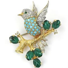 Jomaz Turquoise Breasted Bird on a Branch of Sapphire Fruit Salads Pin