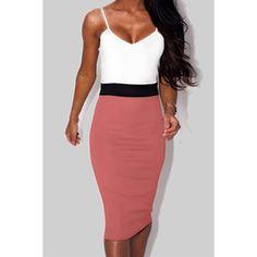 Pink White Spaghetti Strap Color Block Dress