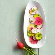 Spring Radish Salad -- beautiful pinks, greens and yellows