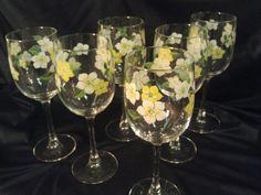 Vintage Flower Wine Glasses Set of 6 by PurpleHazeDayz on Etsy, $27.00