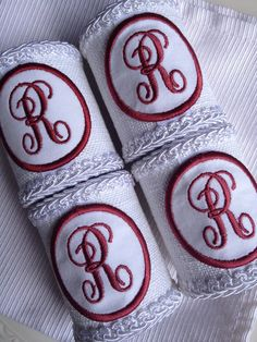 R Monogrammed Napkin Rings Personalized Letter Initial Monogram Red Holders - #77