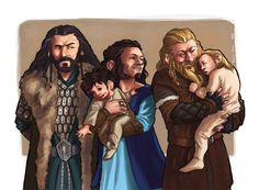 Thorin, his sister Dis, her husband, and Fili and Kili. That's really sweet! I love how uncomfortable Thorin looks...