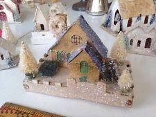 Pinky's Gold Antique Christmas Putz Castle House Bottle Brush Trees Wreath #5a