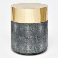 Glam and texture are the hallmarks of the brass and gray, Maxine Stool from Made Goods. Covered with luxurious faux shagreen and shiny brass, this round seating is the ideal choice for any room in your home or office. Plywood Furniture, Custom Furniture, Table Furniture, Furniture Making, Cool Furniture, Furniture Design, Made Goods, Annie Sloan, Accent Furniture