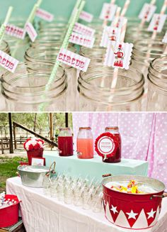 Super cute details in this Girly Dumbo Circus First Birthday Party! #first #birthday #dumbo #circus #party #mint #pink #details #drinks