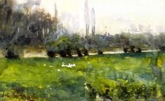The Athenaeum - Swans in a Meadow (Arthur Melville - )(1879) Private collection Painting - watercolor