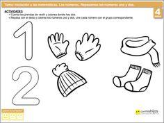 Repasar los números uno y dos. Ejercicio de los números para niños Winter Activities, 1, Math Equations, School, Ideas Para, Preschool, Winter Time, Numbers Preschool, Preschool Writing